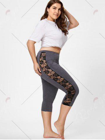 Store Mesh Panel Lace Plus Size Cropped Leggings - 3XL GRAY Mobile