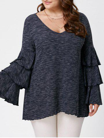 Plus Size Layered Flare Sleeve Top - Black Grey - 2xl