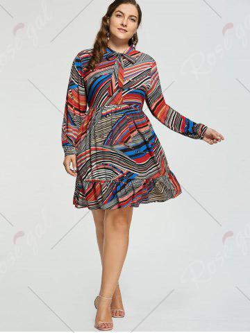 Fashion Plus Size Stripe Chiffon Pussy Bow Dress - 3XL RED Mobile