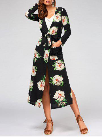 Hot Flower Print Long Sleeve Belted Maxi Blouse - S BLACK Mobile