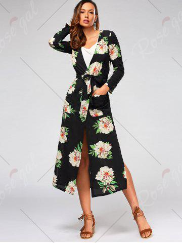 Best Flower Print Long Sleeve Belted Maxi Blouse - S BLACK Mobile