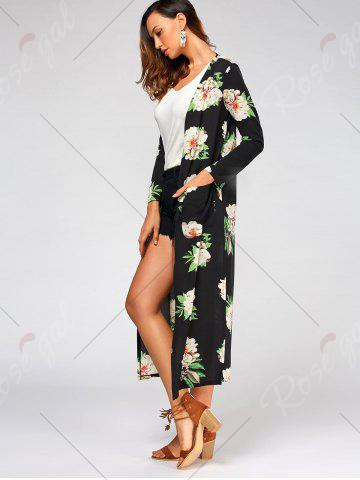 Affordable Flower Print Long Sleeve Belted Maxi Blouse - S BLACK Mobile