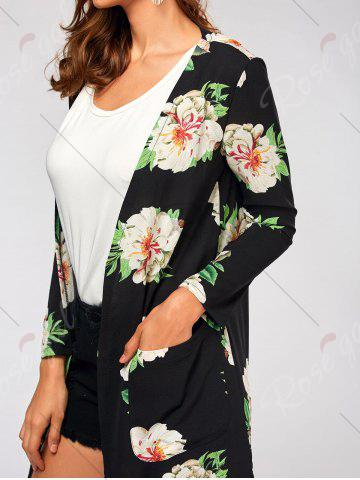 Buy Flower Print Long Sleeve Belted Maxi Blouse - S BLACK Mobile