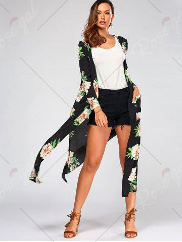 Discount Flower Print Long Sleeve Belted Maxi Blouse - S BLACK Mobile