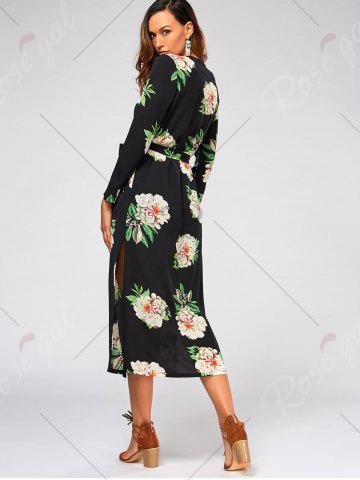 New Flower Print Long Sleeve Belted Maxi Blouse - S BLACK Mobile