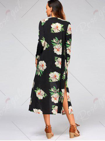 Store Flower Print Long Sleeve Belted Maxi Blouse - S BLACK Mobile