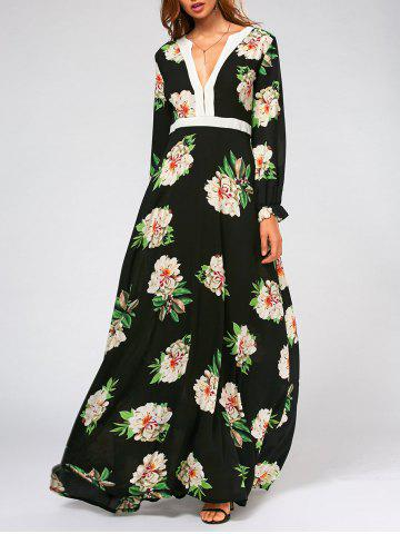 Discount Flower Print High Waist Swing Maxi Dress - XL BLACK Mobile