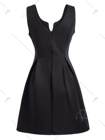 Affordable A Line Sleeveless Open Back Club Dress - L BLACK Mobile