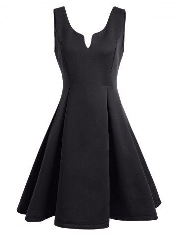 Fancy A Line Sleeveless Open Back Club Dress - M BLACK Mobile