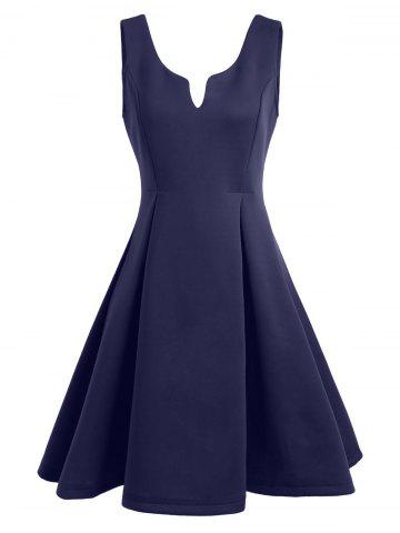 Latest A Line Sleeveless Open Back Club Dress - XL PURPLISH BLUE Mobile