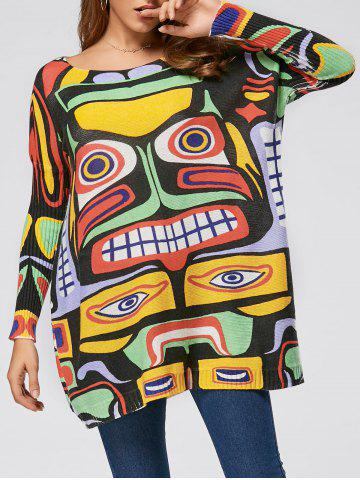 Pullover Drop Shoulder Cartoon Pattern Sweater - Yellow - One Size