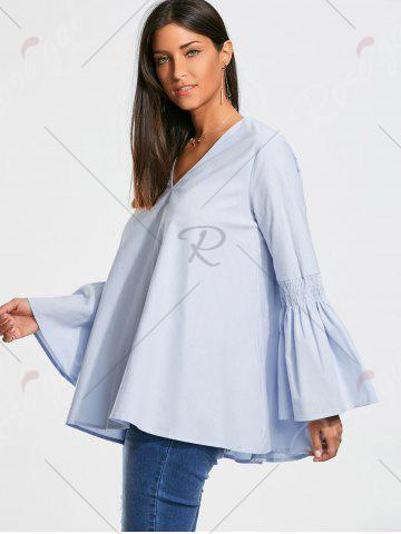 Shop V Neck Tunic Blouse with Flare Sleeve - S CLOUDY Mobile