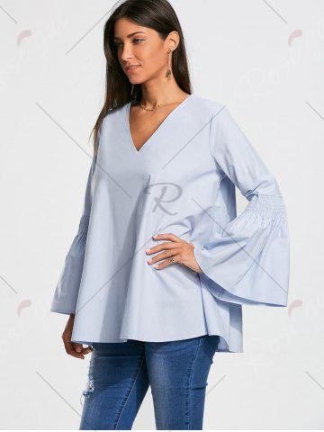 Trendy V Neck Tunic Blouse with Flare Sleeve - S CLOUDY Mobile