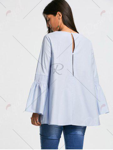 Unique V Neck Tunic Blouse with Flare Sleeve - S CLOUDY Mobile
