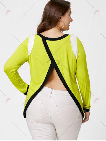 Store Back Slit Plus Size Tunic Tee - XL YELLOW Mobile