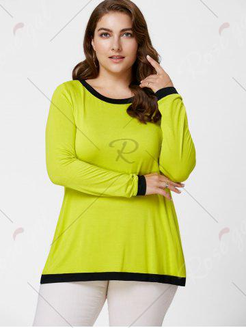 Discount Back Slit Plus Size Tunic Tee - XL YELLOW Mobile