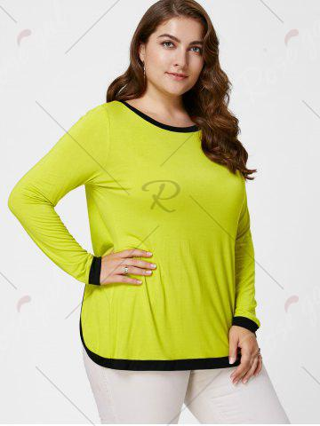 Outfits Back Slit Plus Size Tunic Tee - XL YELLOW Mobile