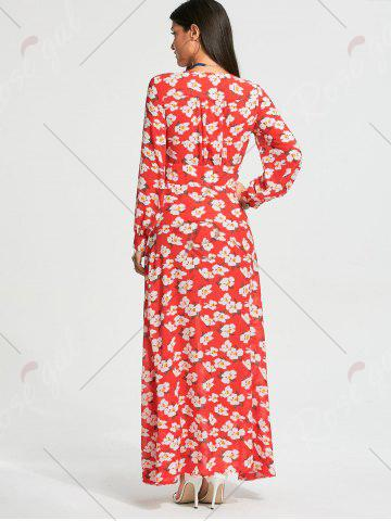 Trendy Floral Print Button Up Chiffon Maxi Dress with Split - 2XL RED Mobile