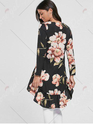 Buy Floral Chiffon High Low Top - S BLACK Mobile