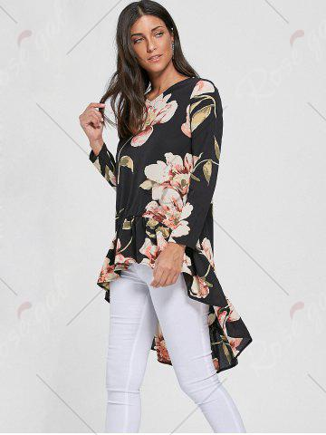 Trendy Floral Chiffon High Low Top - S BLACK Mobile