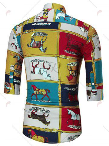 Latest Horse Print Three Quarter Sleeve Shirt - 2XL COLORMIX Mobile