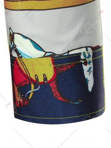 Best Horse Print Three Quarter Sleeve Shirt - 2XL COLORMIX Mobile