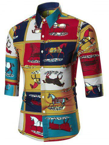 Online Horse Print Three Quarter Sleeve Shirt - 2XL COLORMIX Mobile