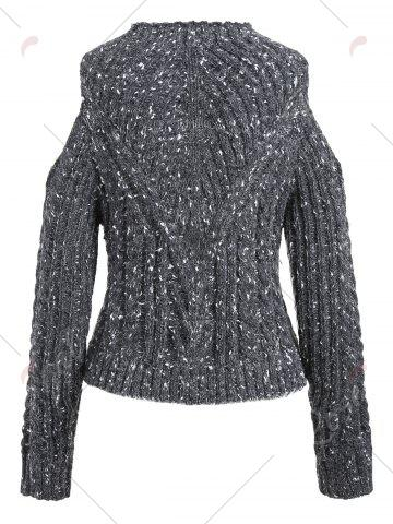 Online Crew Neck Open Shoulder Chunky Sweater - ONE SIZE GRAY Mobile