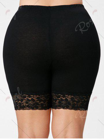 Cheap Lace Trim Plus Size Short Leggings - BLACK 4XL Mobile