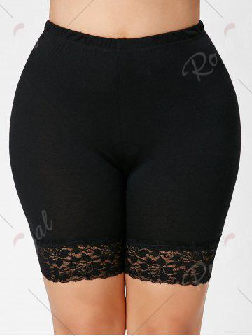Chic Lace Trim Plus Size Short Leggings - 5XL BLACK Mobile
