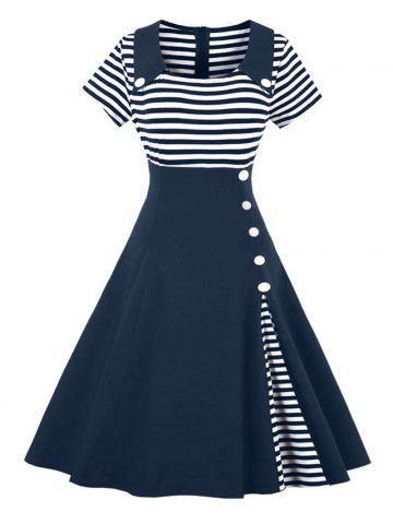 Chic Vintage Buttoned Stripe Pin Up Dress PURPLISH BLUE L
