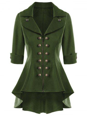 Manteau Trench Double Breasted High Low Flare Vert Armée 2XL