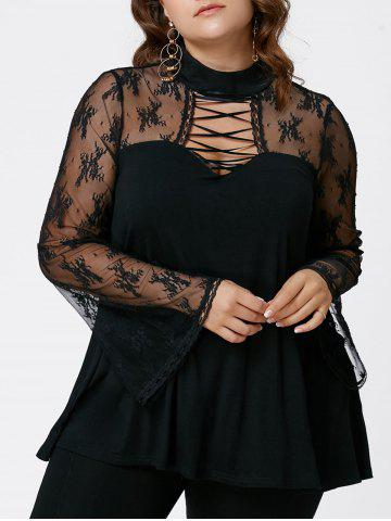 Sale Plus Size Criss Cross See Thru Flare Sleeve Blouse - 5XL BLACK Mobile