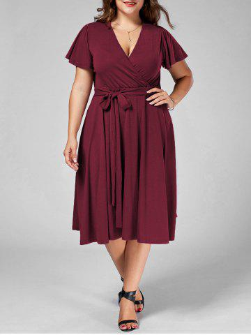 Affordable Plus Size V Neck Belted Midi Dress - 9XL DARK RED Mobile
