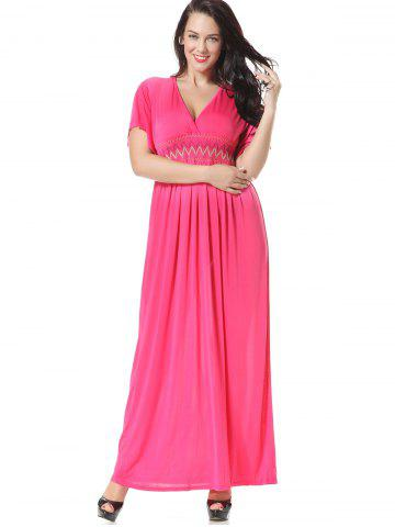 Shop Embroidered Smocked Panel Maxi Dress