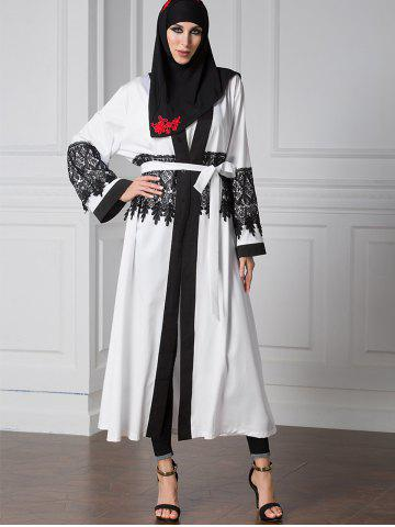 Lace Trim Two Tone Belted Cardigan