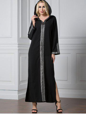 Shiny Trim Slit Long Sleeve Maxi Dress