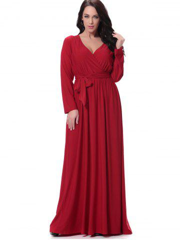 Unique Belted Long Sleeve Formal Maxi Dress