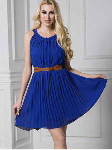 New Ruffled Pleated Belted Mini Dress