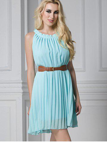 Outfit Ruffled Pleated Belted Mini Dress