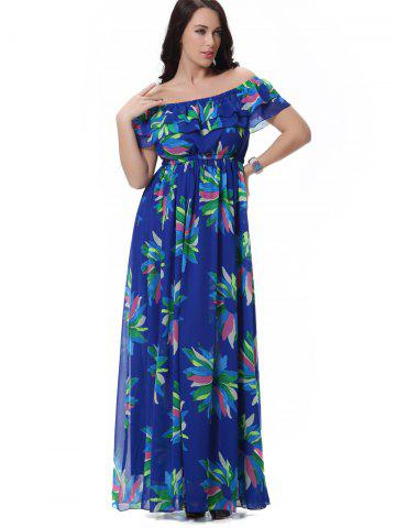 Hot Off Shoulder Floral Layered Maxi Dress