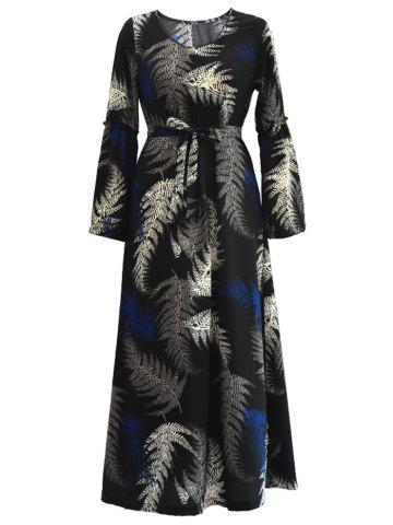 Fancy Tropical Belted Long Sleeve Maxi Dress