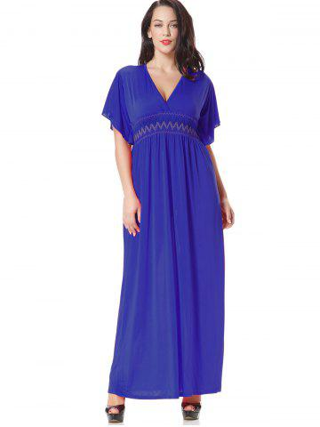 Latest Embroidered Smocked Panel Maxi Dress - XL BLUE Mobile