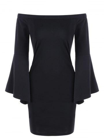 Store Off Shoulder Flare Sleeve Sheath Dress
