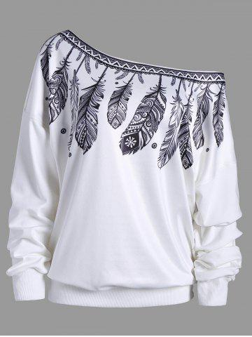 Buy Drop Shoulder Feather Print Skew Neck Sweatshirt - White Xl