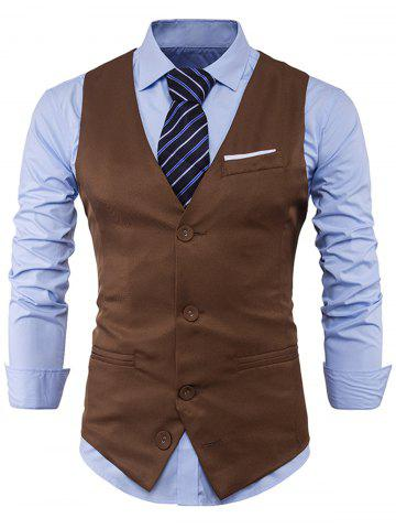 Hot V Neck Color Block Edging Waistcoat