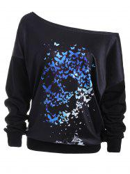 Skew Neck Drop Shoulder Butterfly Skull Sweatshirt