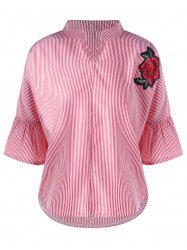 Striped Flare Sleeve Embroidery Applique Blouse
