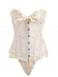 Ruffled Brocade Steel Boned Corset Top