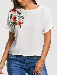 Fleur Broderie Short Batwing Sleeve Blouse - Blanc S